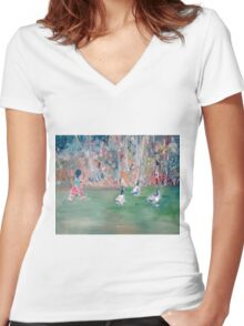 CHILD and GEESE Women's Fitted V-Neck T-Shirt