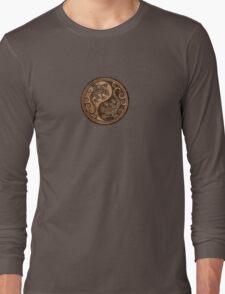 Rough Wood Grain Effect Yin Yang Geckos Long Sleeve T-Shirt