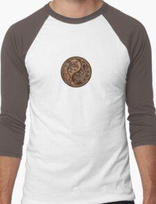 Rough Wood Grain Effect Yin Yang Geckos Men's Baseball ¾ T-Shirt