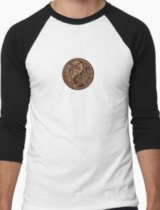 Rough Wood Grain Effect Yin Yang Geckos Men's Baseball ¾ T-Shirt