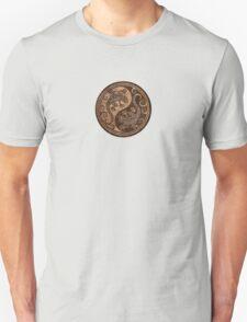 Rough Wood Grain Effect Yin Yang Geckos Unisex T-Shirt