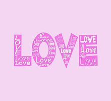 Colorful Love, Hearts - Pink White by sitnica