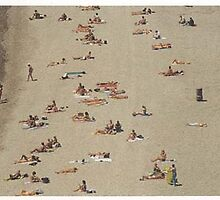 people lazing on Nice beach france by space