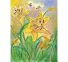 Lilies and Bees II Watercolor Photographic Print