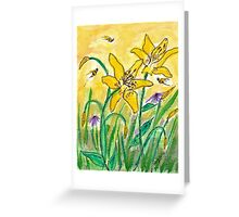 Lilies and Bees Watercolor Greeting Card