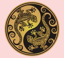 Yellow and Black Yin Yang Geckos One Piece - Short Sleeve