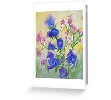 Bluebells and Bees Watercolor Greeting Card