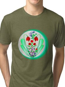 FLOWER GARDEN ON SILVER Tri-blend T-Shirt