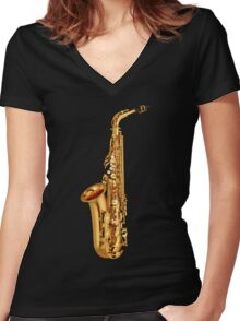 Saxophone Gold  Women's Fitted V-Neck T-Shirt