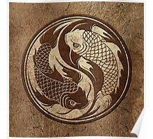 Yin Yang Koi Fish with Rough Texture Effect Poster
