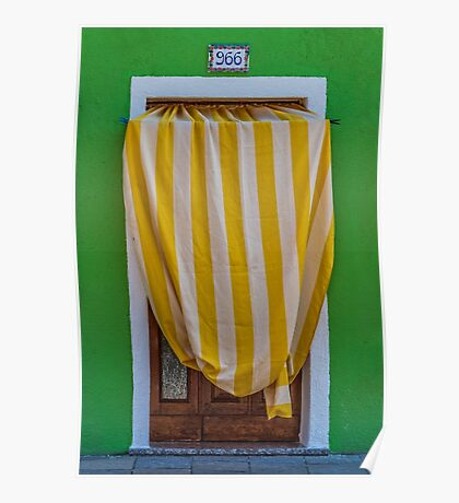 Striped awning at 966 Poster