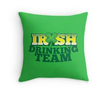 IRISH drinking Team with beer pint and Shamrock Throw Pillow