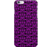 Royal Damask, Ornaments, Swirls - Purple Black iPhone Case/Skin