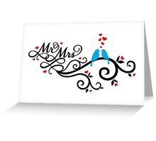 Mr. and Mrs. wedding invitation with blue love birds Greeting Card