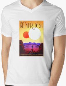 Nasa Travel Poster-Kepler-16b Mens V-Neck T-Shirt