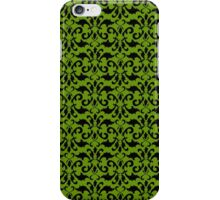 Royal Damask, Ornaments, Swirls - Green Black iPhone Case/Skin
