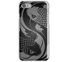 Gray and Black Yin Yang Koi Fish iPhone Case/Skin