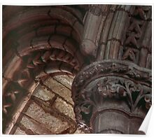 Capitals and arches Window arches in wall of church Lanercost Priory Cumbria England 19840526 0021   Poster