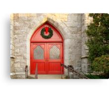 Church Doors in December Canvas Print
