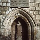 Memorial inscription in wall niche Lanercost Priory Cumbria England 198405260025 by Fred Mitchell