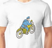 Highway Patrol Policeman Riding Motorbike Cartoon Unisex T-Shirt