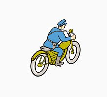 Highway Patrol Policeman Riding Motorbike Cartoon Unisex T-Shirt