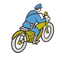 Highway Patrol Policeman Riding Motorbike Cartoon by patrimonio