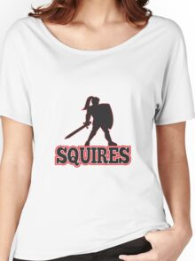 Knight Silhouette Squires Sword Shield Cartoon Women's Relaxed Fit T-Shirt