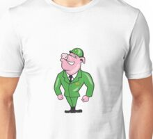World War Two Pig Soldier Attention Cartoon Isolated Unisex T-Shirt