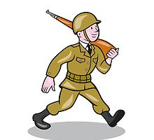 World War Two Soldier American Cartoon Isolated by patrimonio