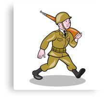 World War Two Soldier American Cartoon Isolated Canvas Print