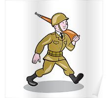 World War Two Soldier American Cartoon Isolated Poster