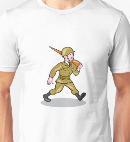 World War Two Soldier American Cartoon Isolated Unisex T-Shirt