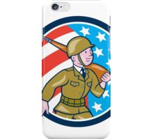 World War Two Soldier American Marching Cartoon Circle iPhone Case/Skin