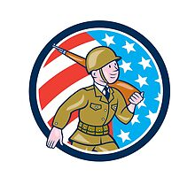 World War Two Soldier American Marching Cartoon Circle by patrimonio