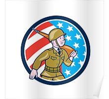 World War Two Soldier American Marching Cartoon Circle Poster