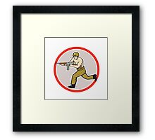 World War Two Soldier American Tommy Gun Framed Print