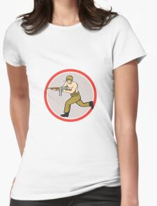 World War Two Soldier American Tommy Gun Womens Fitted T-Shirt