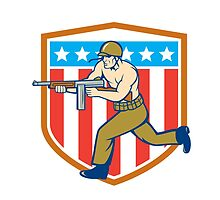 World War Two Soldier American Tommy Gun Shield by patrimonio