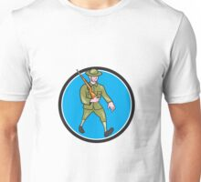 World War One Soldier British Marching Circle Cartoon Unisex T-Shirt