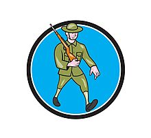 World War One Soldier British Marching Circle Cartoon Photographic Print