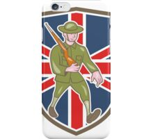 World War One Soldier British Marching Cartoon Shield iPhone Case/Skin