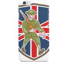 World War One Soldier British Marching Cartoon Shield iPhone Case/Skin