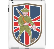 World War One Soldier British Marching Cartoon Shield iPad Case/Skin