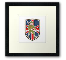 World War One Soldier British Marching Cartoon Shield Framed Print