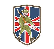 World War One Soldier British Marching Cartoon Shield Photographic Print