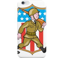 World War Two Soldier American Cartoon Shield iPhone Case/Skin
