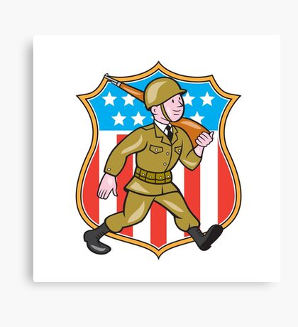 World War Two Soldier American Cartoon Shield Canvas Print