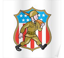 World War Two Soldier American Cartoon Shield Poster