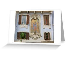Blue Building in the Piazza Greeting Card